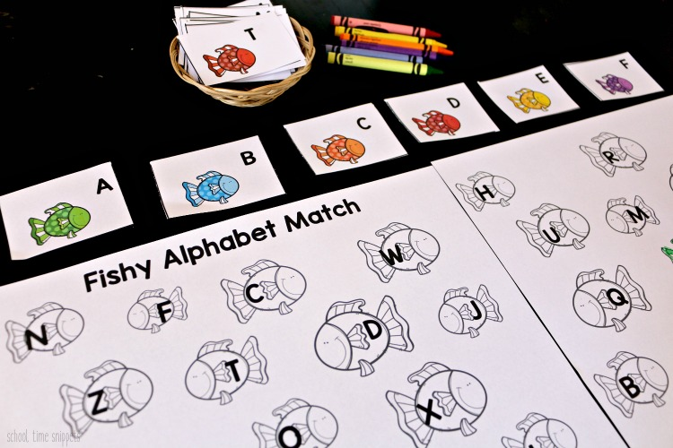 fish letter matching worksheet for preschoolers