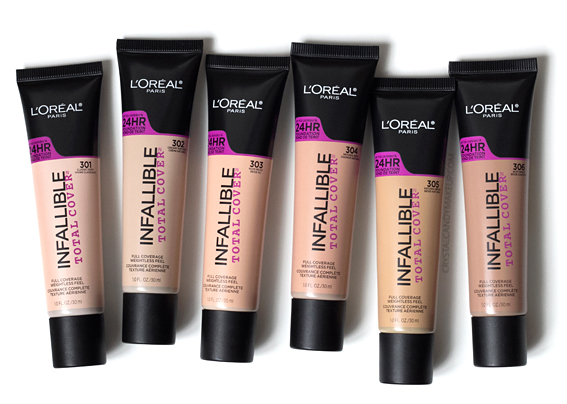 L'Oreal Infaillible Total Cover foundation Review Photos 301 302 303 304 305 306