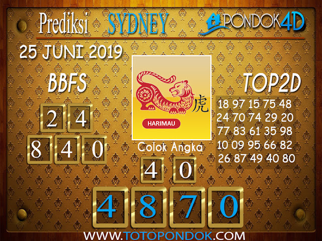 Prediksi Togel SYDNEY PONDOK4D 25 JUNI 2019