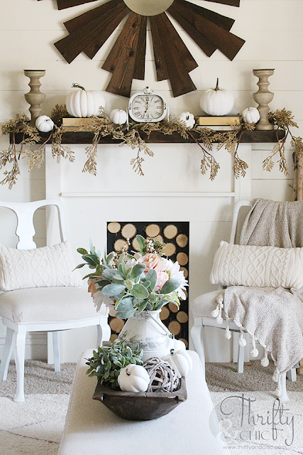 Neutral fall mantel decor. Farmhouse fall decor and decorating ideas. Pastel fall decor. How to decorate for fall. Neutral fall decorating ideas. Fall living room decor and decorating ideas. Farmhouse fall living room.