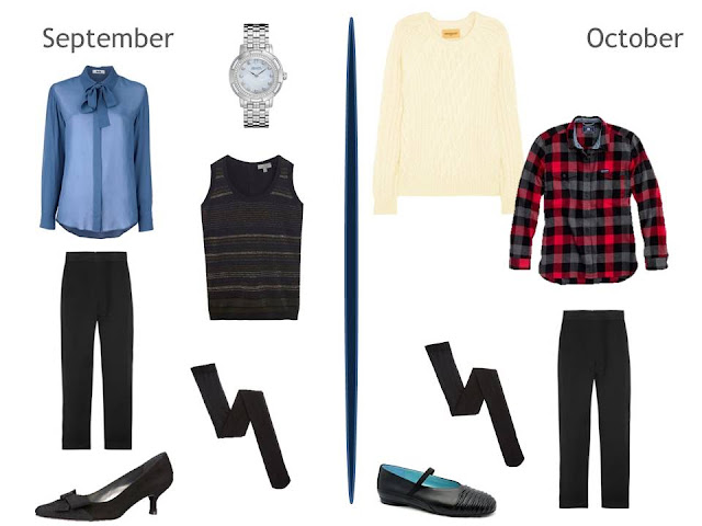 2 cool weather outfits using a pair of black pants, 1 with a shirt and sweater vest, one with a flannel shirt and sweater