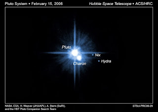 Photograph of Pluto and its moons Charon, Nix and Hydra taken by the Hubble Space Telescope