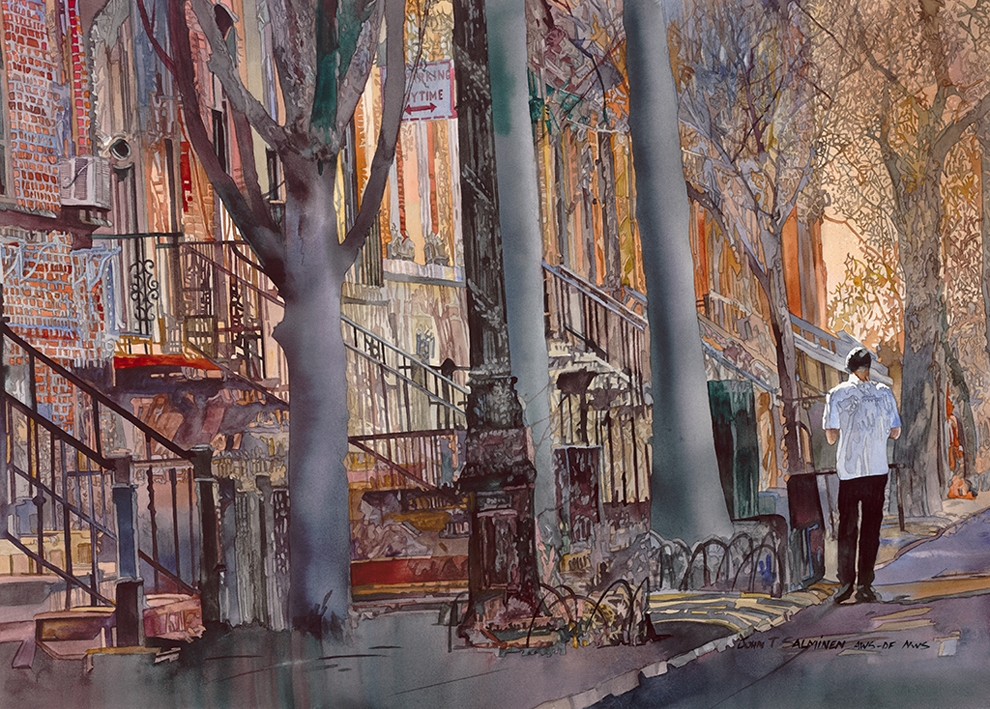 03-Brownstones-John-Salminen-Watercolor-Paintings-Taking-Glimpses-into-our-Life-www-designstack-co