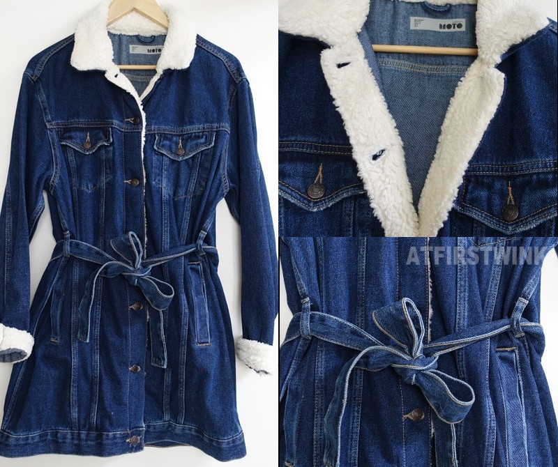 topshop denim jacket white teddy fur collar dress shape belt