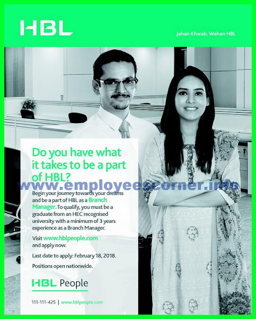 HBL Bank BM Jobs in Pakistan 2018