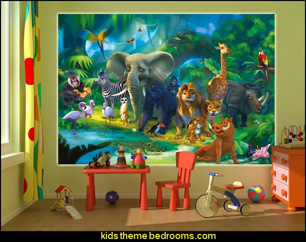 Jungle animals photo wall paper - safari mural - XXL jungle wall decoration children room