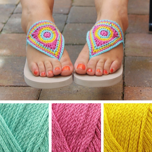 Crochet flip flops, free crochet pattern by Miss Neriss | Happy in Red