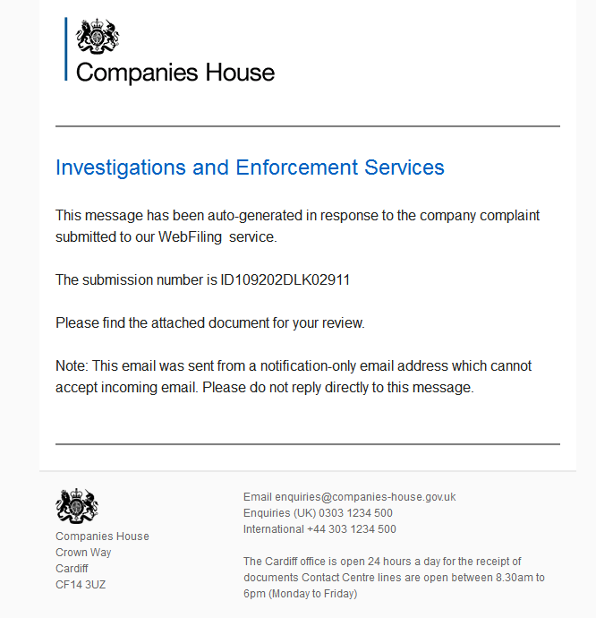 Dynamoo 39 s blog malware spam companies house new for Companies housse