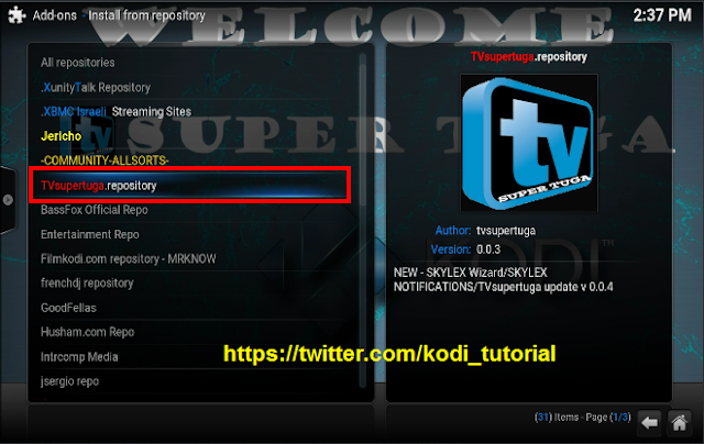 How to install TV-SUPERTUGA.REPOSITORY