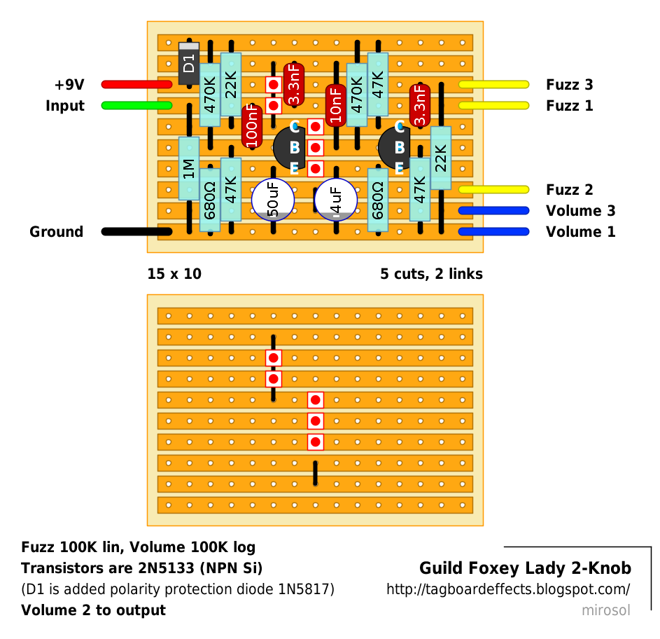 Guitar Fx Layouts Ehx Axis Guild Foxey Lady 2 Knob Wiring Diagram Go With 47 And Should Be Close Enough Ive Added Polarity Protection Pulldown Resistor But You Could Omit Them Save A Column In Order To