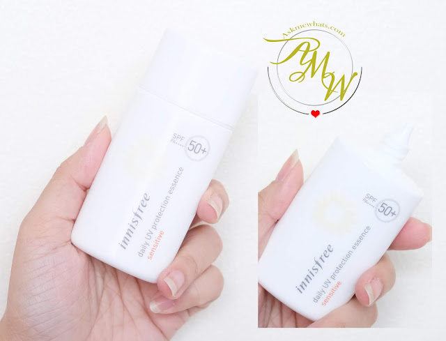 a photo of Innisfree Daily UV protection essence sensitive SPF50+ PA++++ 50ml review by Nikki Tiu of www.askmewhats.com