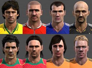 Faces: Barthez, Cruyff, Cantona, Figo, Leonardo, Maniche, Koeman, Zidane, Pes 2013