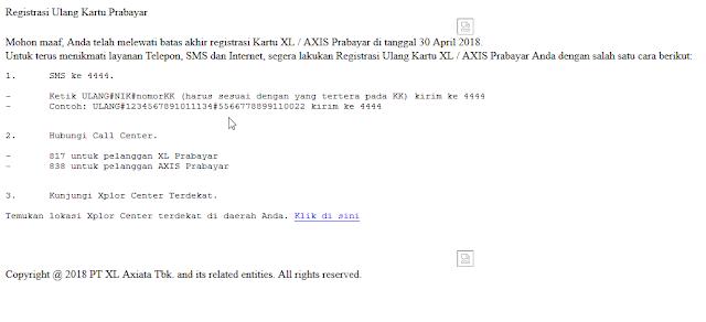 Registrasi Kartu Axis dan XL