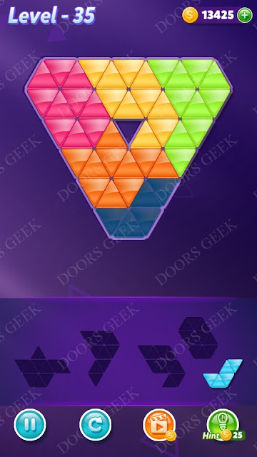 Block! Triangle Puzzle 5 Mania Level 35 Solution, Cheats, Walkthrough for Android, iPhone, iPad and iPod