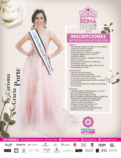 reina fiestas de octubre guadalajara 2018