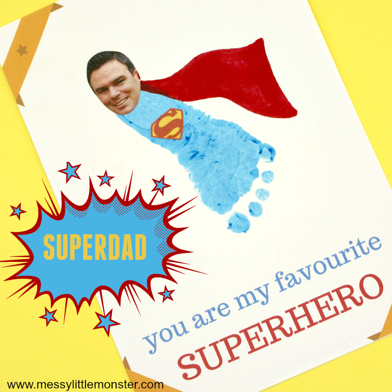 footprint superhero craft with free printable - Fathers day craft for kids
