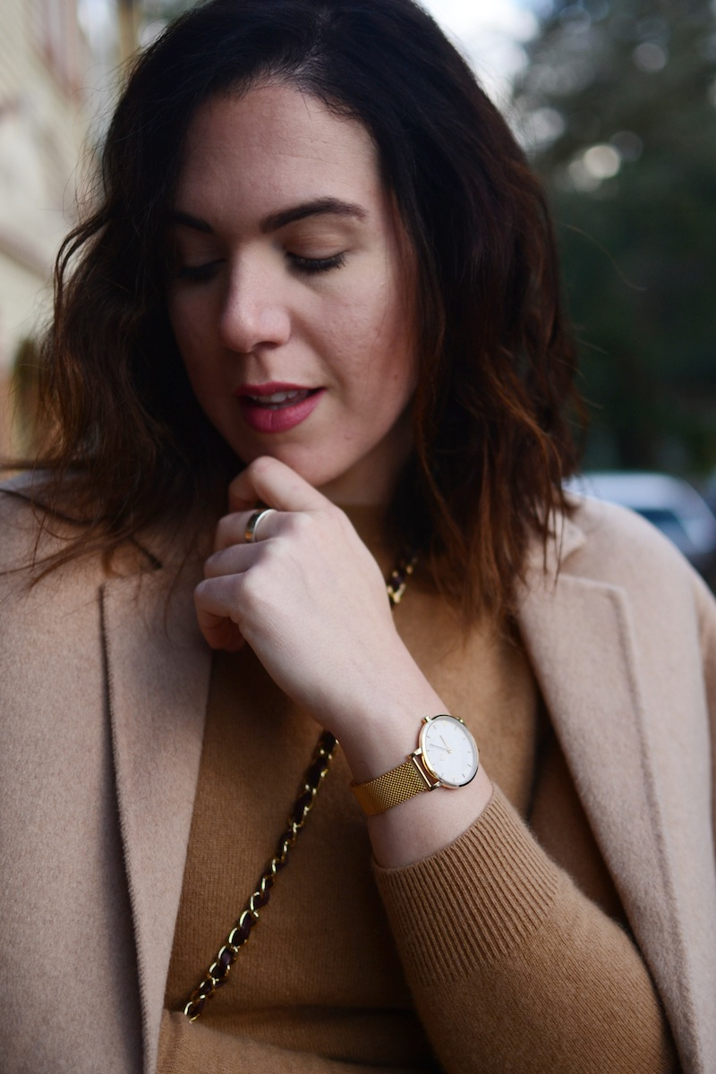 Medium Watch Company gold fashion watch vancouver blogger Gap wool car coat