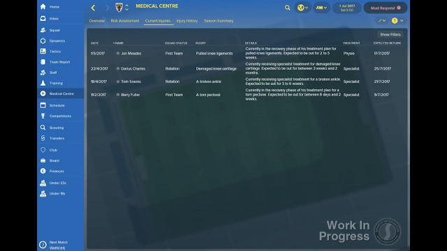 Currently Injured Players Panel in FM18