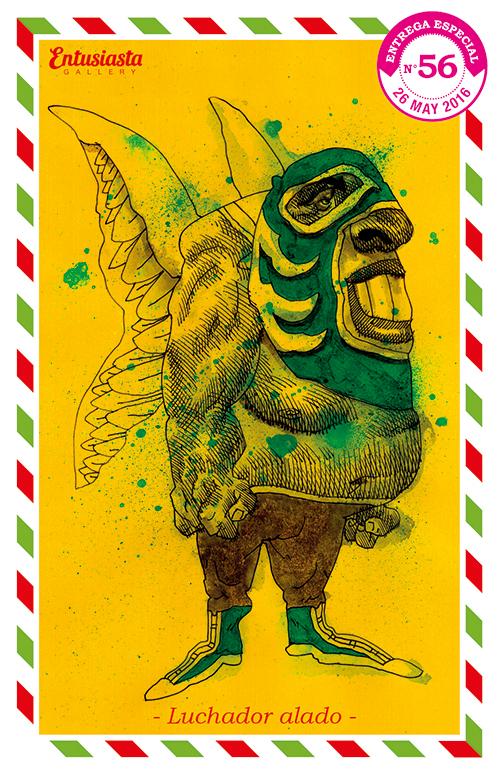 Dibujo de un luchador enmascarado con alas, realizado en tinta por el ilustrador David Pugliese