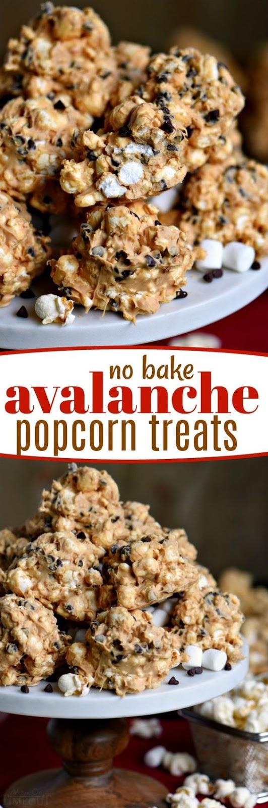 No Bake Avalanche Popcorn Treats