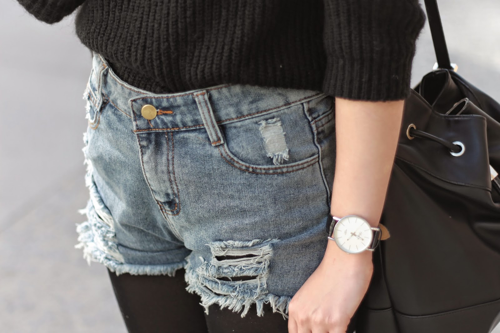 shorts denim fashion blogger letthemwear ootd outfit