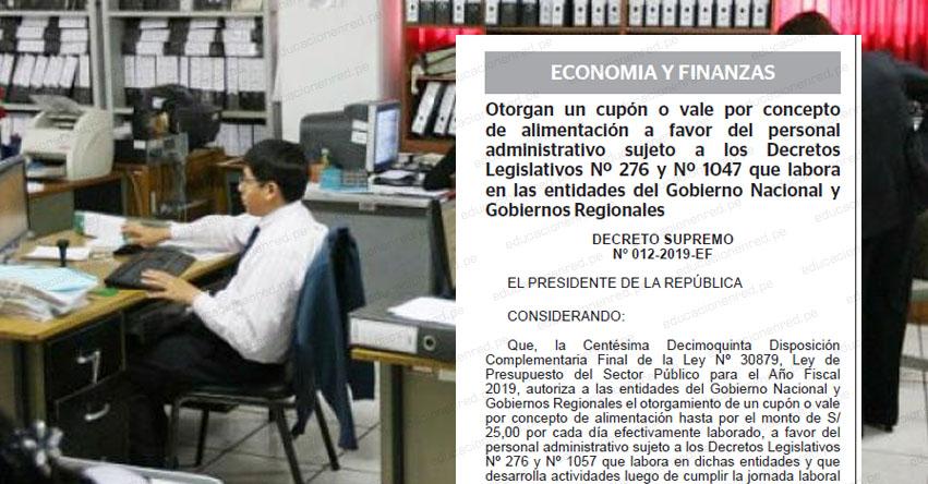 ANÁLISIS: Trabajadores públicos recibirán vale por 25 soles diarios cuando laboren luego de las 9 pm [D. S. Nº 012-2019-EF]