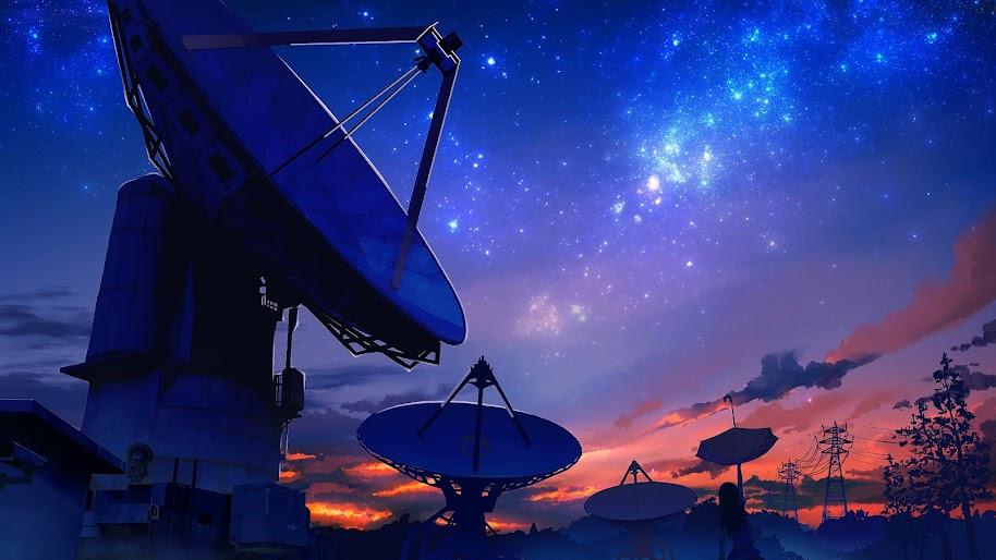 Anime, Scenery, Night Sky, Satellite Dish, 4K, 3840x2160 ...