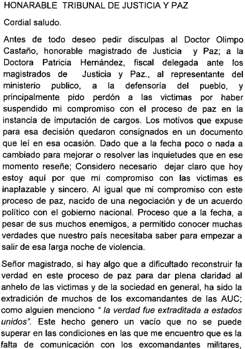 Carta de Ramiro Vanoy al Honorable Tribunal de Justicia y Paz