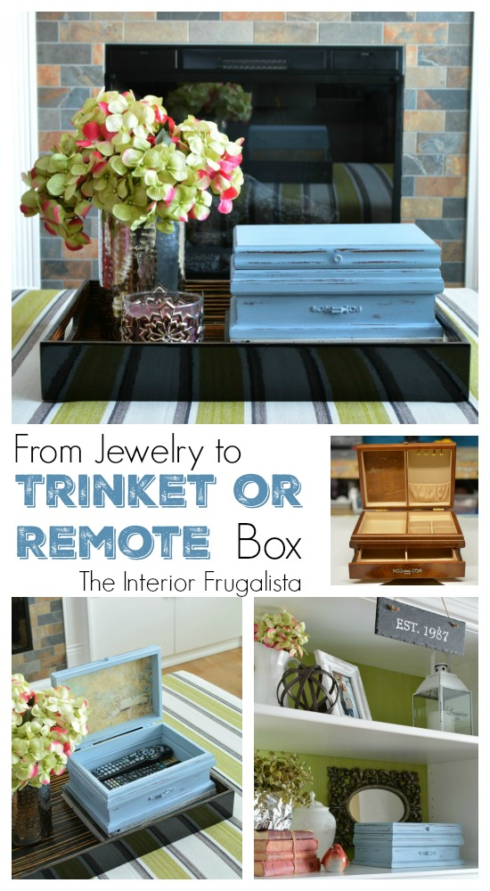 Thrift Store Jewelry Box upcycled into Remote Control Storage