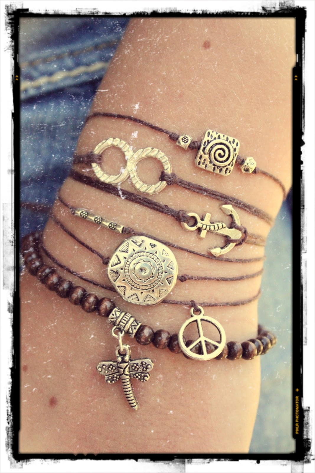 Stacked Bohemian Stretch Bracelet and Upcycled Leather Cuff. Get the ...