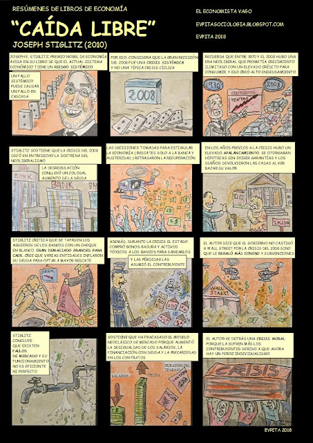 "Cómic en color del resumen del libro ""Caída libre"" de Joseph E. Stiglitz (2010)  /// by E.V.Pita 2018"