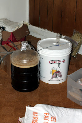 Two fermentors of barleywine fermenting.