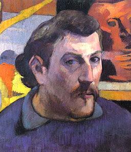 Pintura del autorretrato de Paul Gauguin a colores