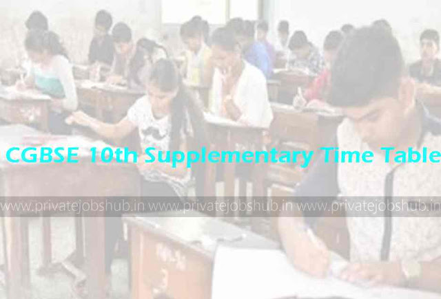 CGBSE 10th Supplementary Time Table