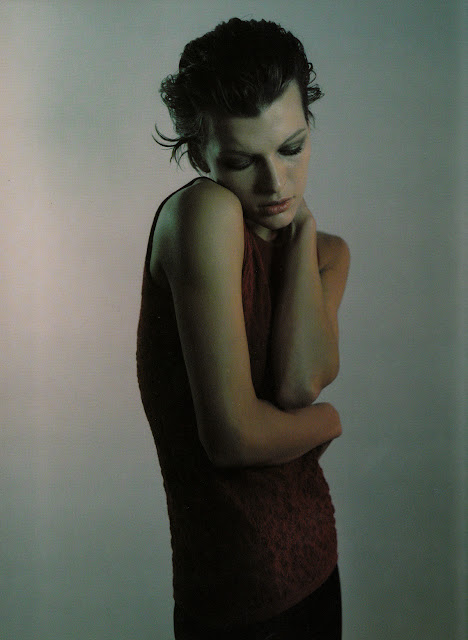 Milla Jovovich for Strenesse, F/W 1997/1998. Photographed by Mario Sorrenti. muted, dark, sensual, 90's