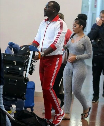 Legendary Singer Akon Steps Out With One Of His Very Beautiful Wives
