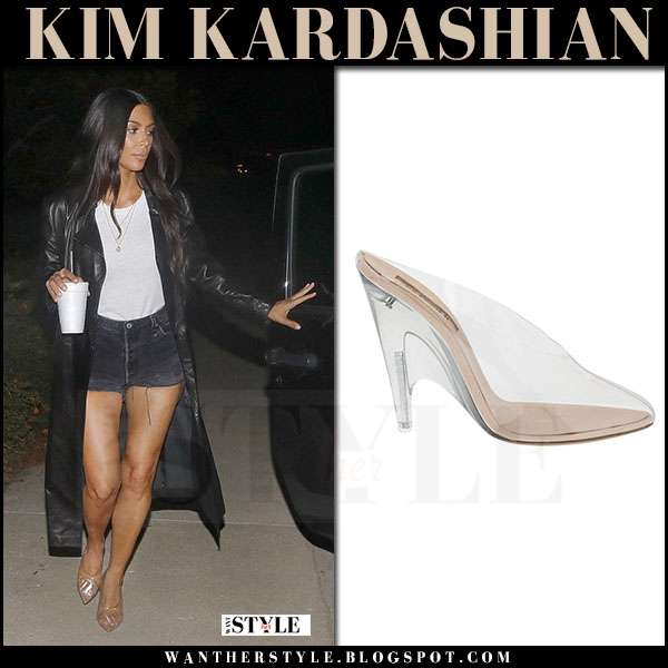 Kim Kardashian in clear pvc mules yeezy what she wore july 6 2017 street fashion