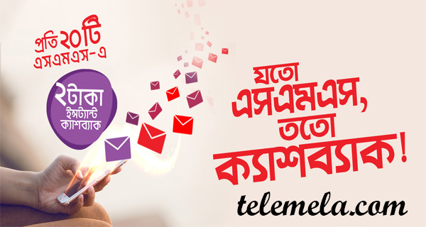Robi Instant Cash Back on P2P SMS Usage