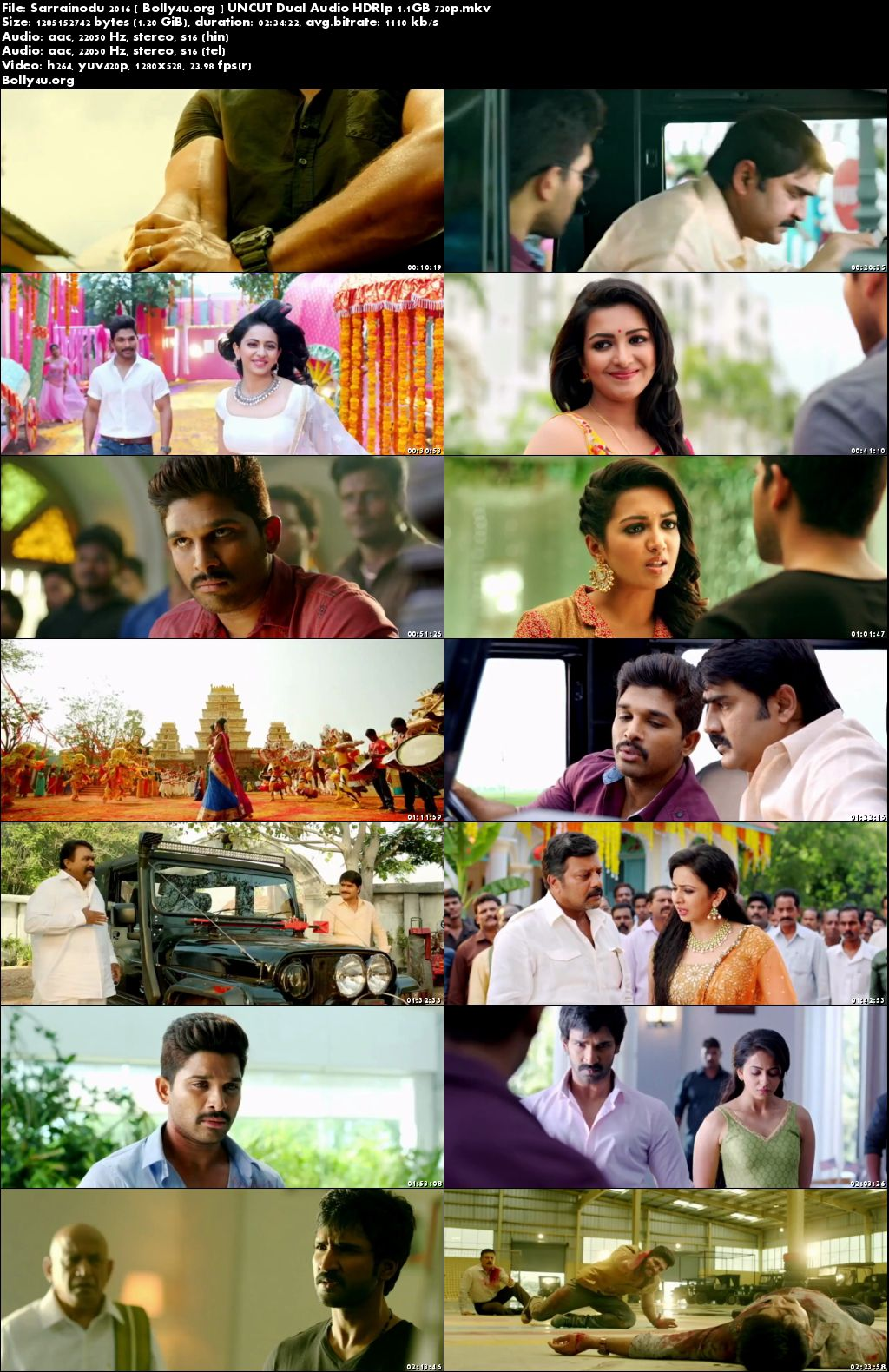 Sarrainodu 2016 HDRip 450MB UNCUT Hindi Dubbed Dual Audio 480p Download