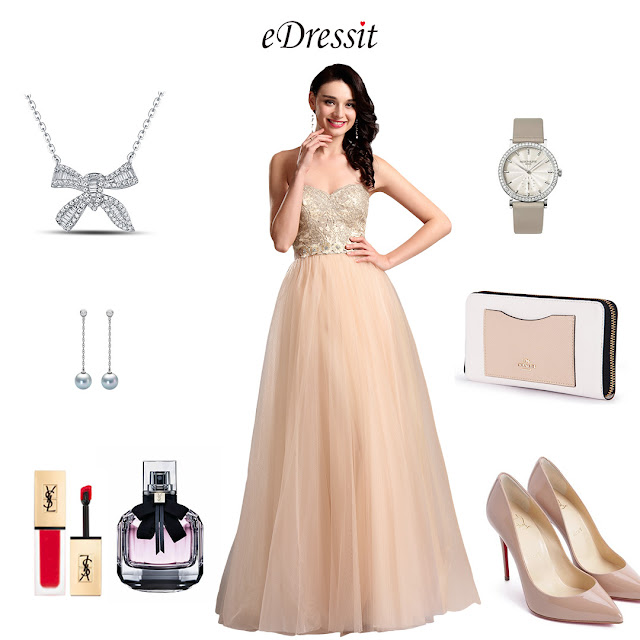 Strapless Sweetheart Beige Ball Gown