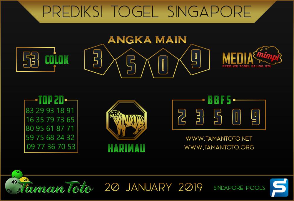 Prediksi Togel SINGAPORE TAMAN TOTO 20 JANUARI 2019