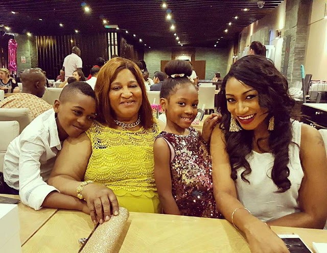 Actress Oge Okoye having  fun with friends and family.