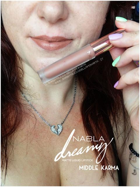 middle karma Dreamy Matte Liquid Lipstick rossetto liquido nabla cosmetics applicazione mouth labbra