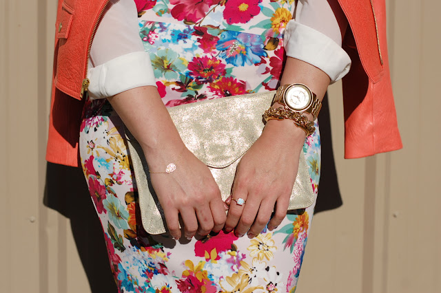 Gold clutch, Michael Kors runway watch and Vita Fede Mini Titan bracelet.