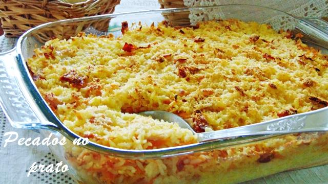 Arroz de forno com fiambre e queijo