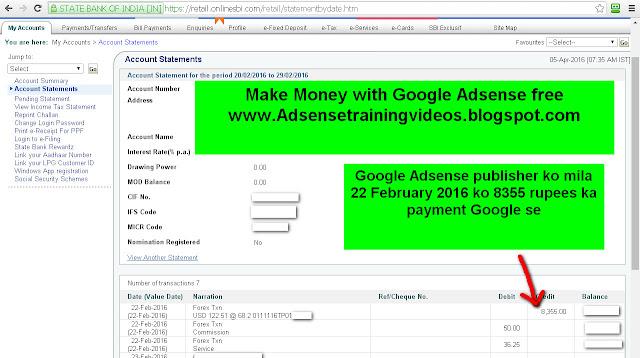 Google Adsense publisher ko mila 8355 rupees ka payment 22 February 2016 ko-see income proof screenshot