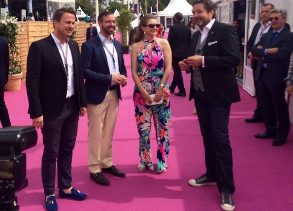Hereditary Grand Duke Guillaume and Hereditary Grand Duchess Stéphanie at the Cannes Film Festival 2017. Stephanie wore colourful havana palm jumpsuit
