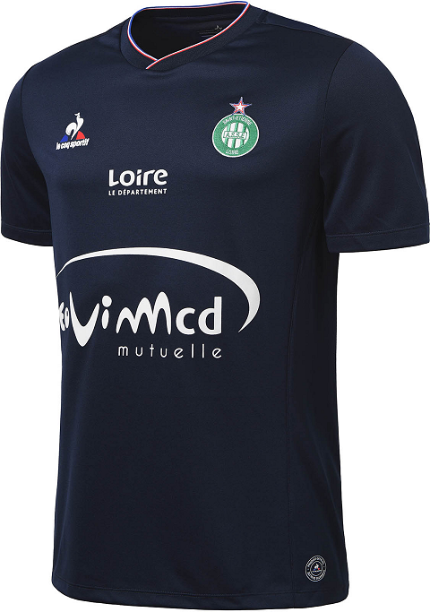 24e3472eb51 The new Saint-Etienne 2015-2016 Third Kit draws inspiration from the French  flag. It combines the understated main color dark navy with white