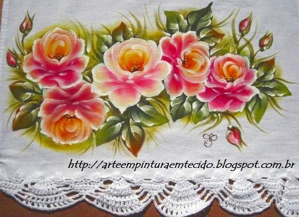 pano de prato com pintura e crochê