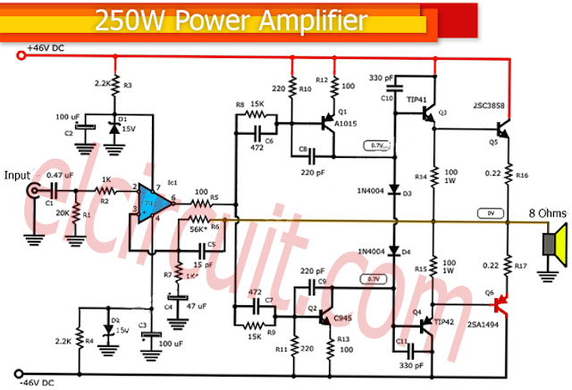 250 Watt power amplifier circuit